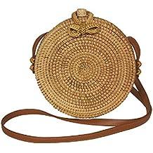 7ba60aaa109b4 Runde Rattan Tasche Korbtasche Handmade und mit traditionell bedrucktem  Futter (Umhängetasche