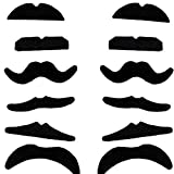 Demarkt 12 Different Beardtypes Dressing Beards Selbstklebende Falsche Schnurrbärte, Schwarz Schnurrbärte für Karneval Kostüm Party