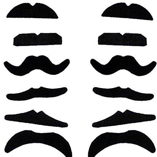 Demarkt 12 Different Beardtypes Dressing Beards Selbstklebende Falsche Schnurrbärte, Schwarz Schnurrbärte für Karneval Kostüm ()