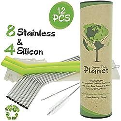 Sumbay Pajitas Reutilizables con 2 Cepillos y Funda | Alternativa Ecológica al Plástico, Bambú, Inoxidable para Botella y Vaso | Libre de BPA | Ideal para Fiesta, Niños | 8 Acero y 4 Silicona - 18 cm
