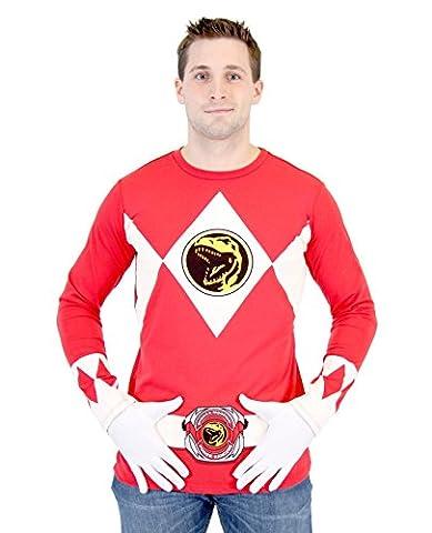 Power Rangers The Long Sleeve Ranger Kostüm rot T-Shirt (X-Large) (Schwarz Mighty Morphin Power Rangers Kostüm)