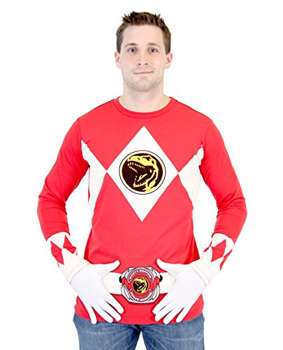 Power Rangers The Long Sleeve Ranger Kostüm rot T-Shirt (X-Large)