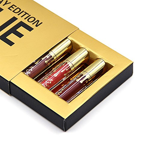 Face Like Cosmetics Lip Gloss Waterproof Rouge Matte Lipsticks Set, Pack of 6 Colors (Gold)