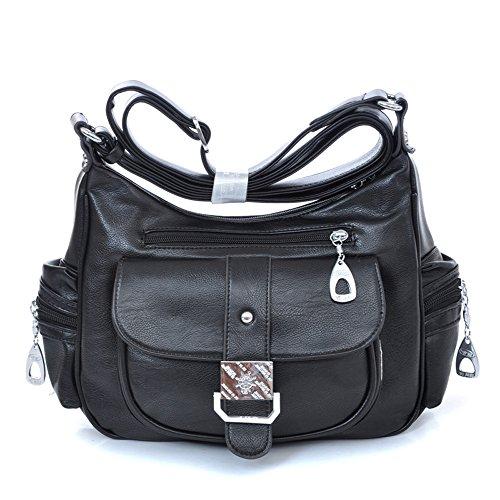 Neue Mode Jahrgang Dame Schultertaschen Mehrere Taschen kuriertaschen frauen Schwarz