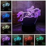 Nuevo Equitación Equitación Caballo 7 Cambio de color 3D Visual LED Night Light Kids Touch USB Lámpara de mesa Bebé Dormir Decoración Deportes Regalos