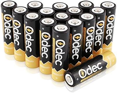 Odec 2450 mAh Batería Recargable AA , Pilas de Ni-MH 1,2V, 1200 Ciclo de Carga, Paquete de 16
