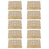 P Prettyia 10 Stück Hochzeit EinladungsKarten Glückwunsch Einladung Karten, Elegante Blume Spitze 4 in 1 [ Hohle Hülse + Leere Karte + Umschlag + Doppel Herz ] - Gold