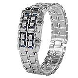 Montre-bracelet électronique, montre en acier à la mode de bracelet de couple d'éclairage de la bande en acier LED(Dragonne argentée/Lumière bleue)