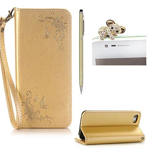 SKYXD für iphone 4 4S Hülle Leder Rosen Blumen und Schmetterlings Muster,PU Folio Klappbar SchutzHülle [Brieftasche Kartenfach / Magnet / Standfunktion / Trageschlaufe] KlappHülle für mit [Koala Handyanhänger + Eingabestift] 3 in 1 Zubehör Set Handy Tasche Etui für Apple für iphone 4/4s Bookstyle Flip Case Leather Cover With [Stylus and Dust Plug]- Gold