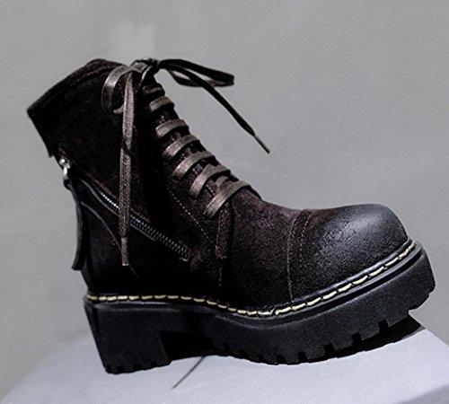 ZCH Scarpe da donna in pelle opaca Martin in pelle scarpe da donna in pizzo Scarpe da donna basse in pizzo Scarpe da cavaliere Autunno rotondo brown