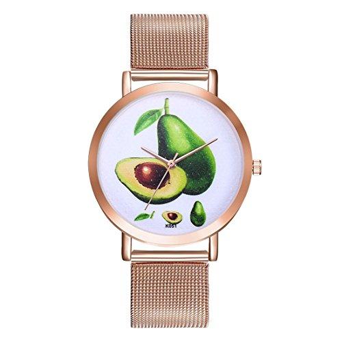 Casual Avocado (Souarts Damen Armbanduhr Avocado Einfach Mesh Metallarmband Casual Analoge Quarz Wasserdicht Uhr Rosegold)