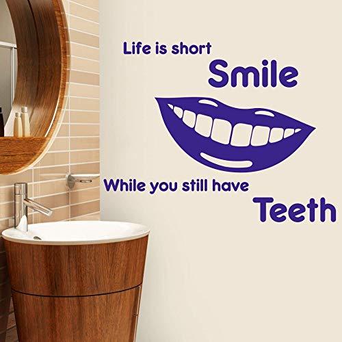 zzlfn3lv Das Leben ist kurz Lächeln Referenz Dental Wand Applique Bad Zahnarzt Klinik Dental Wandaufkleber Vinyl Kunst Wandbild 58 * 82cm -