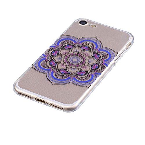 EUWLY Cover per iPhone 7/iPhone 8 (4.7),Bello Dipinto Immagine Disegno Silicone Custodia per iPhone 7/iPhone 8 (4.7),Shock-Absorption Bumper e Anti-Scratch Protettiva TPU Soft Silicone Cover [Rotazi Mandala Fiore Colorato