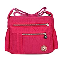 Leisure Women Waterproof Nylon Messenger Bags Cross Body Shoulder Bags Casual Multi Pocket Handbag Tote Purse Handbag (Hot Pink)