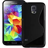 Solid Black S Curve XYLO-GEL Skin / Case / Cover for the Samsung Galaxy S5 / S 5 Mobile Phone. Includes ClearICE Screen Protector Guard.
