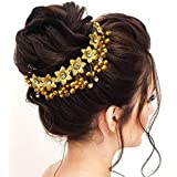 Hair Flare Women's 1687 Hair Pins Artificial Flowers Accessories (Gold)
