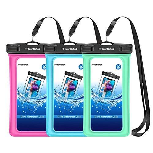 MoKo Schwimmende wasserdichte Schutzhülle, 3 Pack, Universal Handy Tasche, TPU Handyhülle für iPhone X Xr XS Max 8 7 6S Plus, Samsung S9 S8, S7 Edge, Rot/Blau/Grün - 6 Cover Handy Iphone Wasserdichte