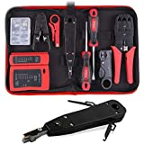 Hi-Spec 19 Piece Installations or Repairs Tool Kit including Network and Telephone Line Tester with Remote, Cable Cutter and Co-axial Stripper, Punch Down Krone Insertion Tool and Crimper Pliers in Zipper Case