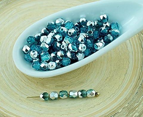 Bois Demi Rond - 100pcs Cristal aigue-marine Aqua Blue Silver Demi-Rond
