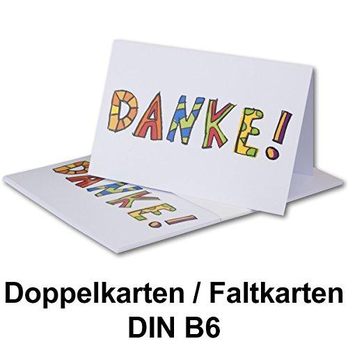 10 Sets // Grußkarten-Dankeskarten DIN B6 Doppelkarten weiß mit farbigem Text