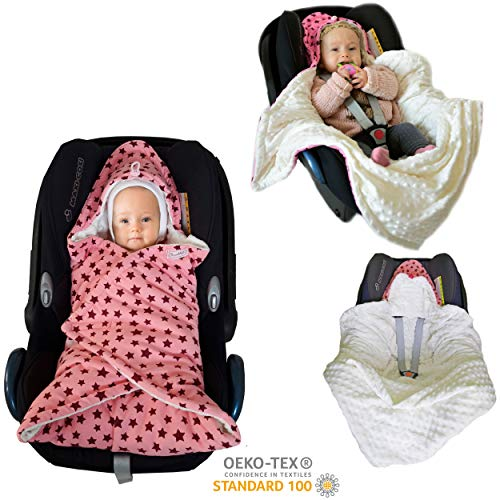 Baby Einschlagdecke Maxi cosi Decke, Babydecke Babyschale - für Neugeborene in der Übergangszeit SWADDYL (Rosa/Creme) -