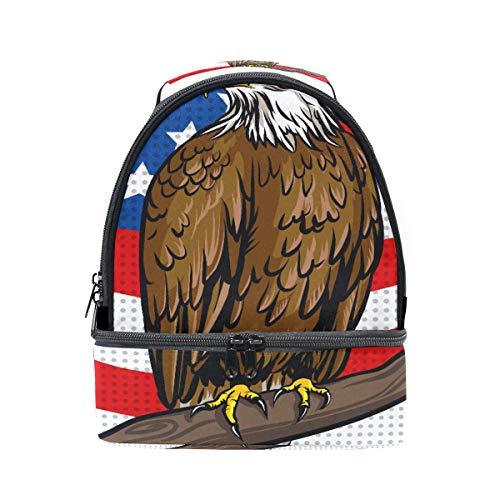 Usa Weißkopfseeadler Amerikanische Flagge Tragbare Schule Schulter Tote Lunchpaket Handtasche Kinder Doppel Lunchbox Wiederverwendbare Isolierte Kühler Für Frauen Student Reise Outdoor