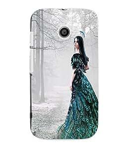 Fuson 3D Printed Fantasy Girl Designer Back Case Cover for Motorola Moto E - D869