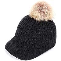 BLACK ELL Gorros de algodón de Punto e Invierno para Mujer Gorros de béisbol cálidos y cómodos, 2