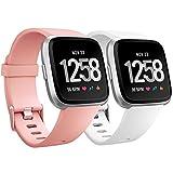 Humenn para Fitbit Versa, Correa de Repuesto clásica Ajustable para Fitbit Versa Smartwatch Grande pequeño, 12 Colores, Mujer, 2 White+Peach, Small