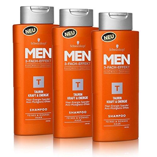 3x Schwarzkopf MEN Taurin Kraft & Energie Shampoo 250ml