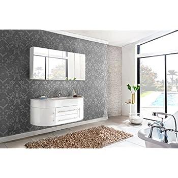 Design Badmöbel Set Dali 140 Cm Weiß, Softclose Funktion, 1 Waschplatz Mit  Mineralgussbecken Und 1 Spiegelschrank