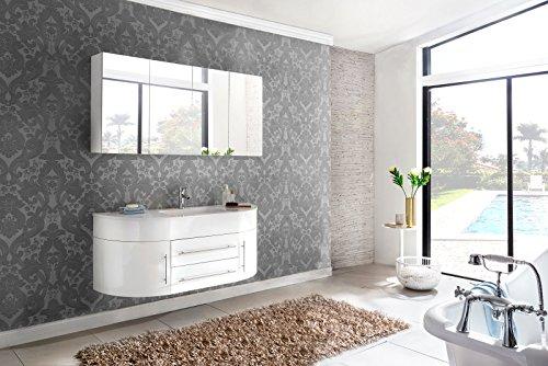 SAM® 2tlg. Design Badmöbel-Set Dali 140 cm weiß, Softclose-Funktion, 1 Waschplatz mit Mineralgussbecken und 1 Spiegelschrank