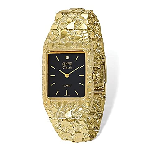Yellow-gold 10k Black 27x47mm Dial Square Face Nugget Watch
