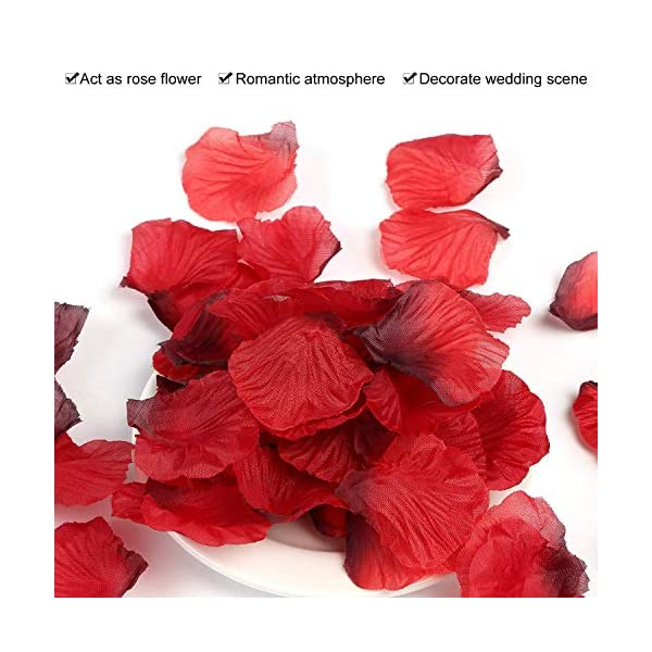 ASANMU 3000 Piezas Pétalos de Rosa, Petalos de Rosa Rojos Artificiales Pétalos de Rosa para Bodas Decoración, Fiestas…