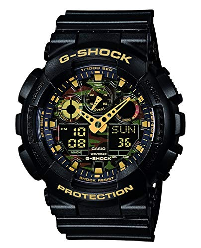 Casio G-Shock Analog-Digital Herrenarmbanduhr GA-100CF gelb schwarz, 20 BAR - Casio Shock Uhr G