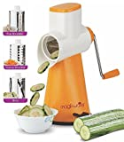 #10: Magikware Vegetable Grater Mandoline Slicer, Rotary Drum Fruit Cutter Cheese Shredder with 3 Stainless Steel Rotary Blades and Suction Cup Feet (Orange)