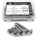 Comdox - Juego de tornillos autoperforantes de acero inoxidable (410 unidades, cabeza de oblea, hoja de metal, surtido de tornillos, cabeza de truss,