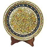 eCraftIndia Marble Plate with Flowers (9 in, Multicolor)