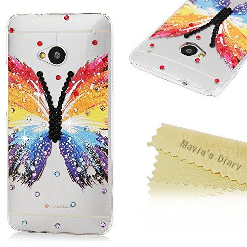 Mavis's Diary Case für HTC One M9 Tasche PC Hardcase Plastik Glanz Glitzer-Strass Case Schutzhülle 3D Muster Bunte Schmetterling mit Strasstein Handmade Durchsichtig Bumper Handycover Handyhülle