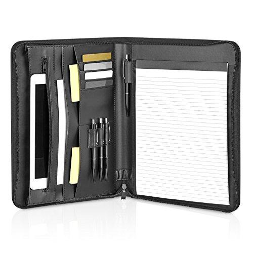 Schreibmappe Leder A4 mit Reißverschluss und iPad, Macbook Air Fächern – schwarze elegante Konferenz-, Dokumentenmappe – Business Organizer aus Kunstleder (Schwarzes Leder-umschlag)