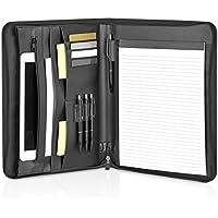 Funda de escritura de cuero A4 con cremallera y compartimento para iPad, Macbook Air - elegante maletín negro para conferencias y documentos - Organizador de negocios de piel sintética