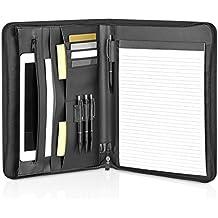 GOODMAN Wallstreet ® Schreibmappe Leder A4 mit Reißverschluss und iPad, Macbook Air Fächern – schwarze elegante Dokumentenmappe – Business Organizer aus Kunstleder