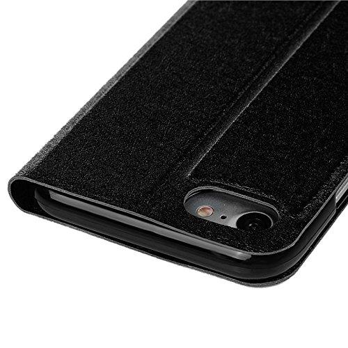 iPhone 7 Hülle, Yokata PU Lederhülle Flip Case mit High Heels Motif Kartenfach Brieftasche Magnet Cover + 1*Stylus Pen - Gold Schwarz