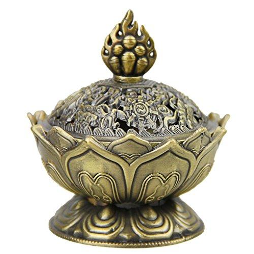 Brûle-Encens Lotus Encensoir Vintage Mini Brûleur d'Encens Bouddha en Alliage Bronze Brûleur à Arôme Support Poêle Bol BoîteFumée d'Encens Cadeaux d'Anniversaire/Noël Décoration de Bureau et Maiso