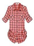 Ochenta Flanellhemd für Damen, mittlere Länge, Ärmel zum Aufrollen, kariert Gr. 38, C041
