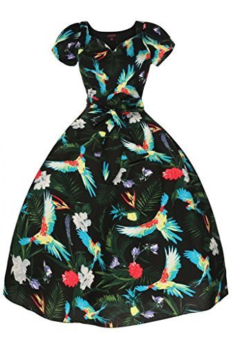 Ladies-1950-de-dulce-corazn-Cap-Sleeve-Tropical-pjaro-Retro-Vintage-Swing-vestido