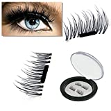 NEW Ultra-thin 0.2mm Magnetic Eye Lashes 3D Reusable False Magnet Eyelashes Extension (4 pieces, Black) immagine