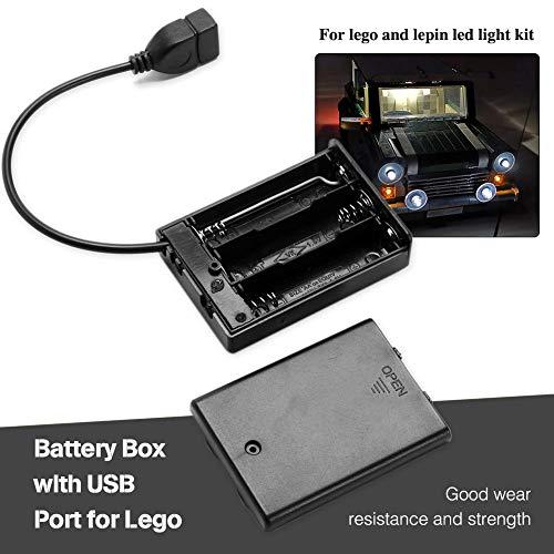 3 Behälter für 4,5-V-AA-Batterien mit Ein/Aus-Schalter und Abdeckung für Beleuchtungssteine   LEGO Lepin LED Kit 3 Packungen (Usb Lego)