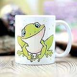 Bedruckte Tasse Keramikbecher Frosch mit Spruch