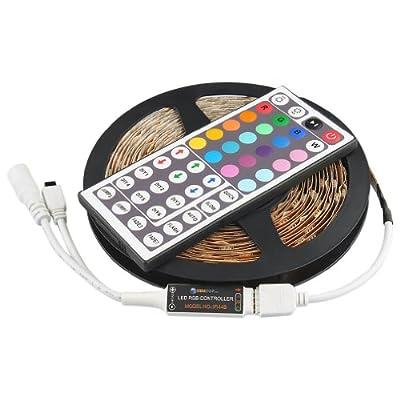 Auralum 5M SMD 5050 150 LEDs 12V 36W IP20 RGB Farben Farbwechsel LED Band Leiste Strip Streifen Lichterkette Licht lichterketten + Fernbedienung 44 Tasten Mehrfarbig von Temtop bei Lampenhans.de